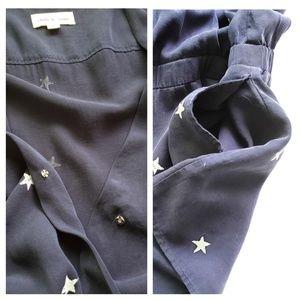 Anthropologie Dresses - CLOTH STONE Star Print Romper Roll Tab Sleeve Navy